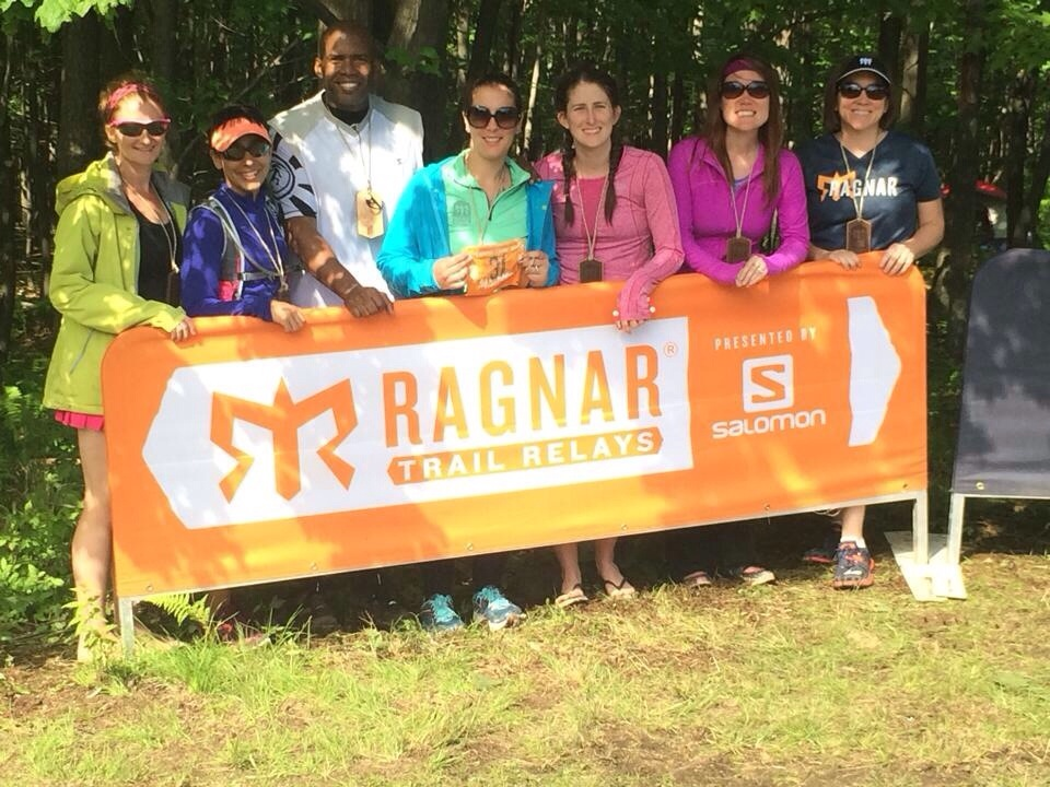 The Mighty Morphin Running Rangers at the end of Ragnar Trails WV